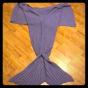 Handmand purple mermaid blankie tail
